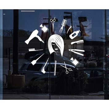 Window Sign Vinyl Wall Decal Hair Salon Tools Hairdresser Woman Stylist Stickers Mural Unique Gift (ig5190w)