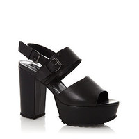 Limited Black Wide Strap Cleated Chunky Platform Heels