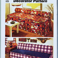 70's Hippie Boho Simplicity Decorator Pattern 5552 Simple Sofa Slipcover for Your Retro Living Room Home Decor Sewing Patterns Supplies