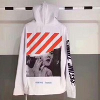 OFF WHITE Fashion Women Men Print Pure Cotton Velvet Hoodie Sweater Pullover Top
