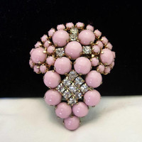 Art Deco Pin Vintage Pink Cushion Cabochon Glass Rhinestone Gold Plate Brooch