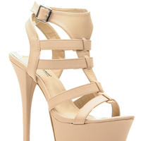 Nude Faux Leather Open Toe Platform Stiletto Heels