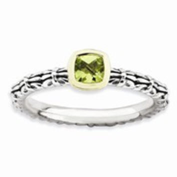 Sterling Silver & 14k Checker-cut Peridot Antiqued Ring, Size 6