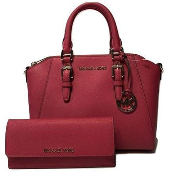 LMFIX5 Michael Kors Ciara MD Messenger Handbag bundled with Michael Kors Jet Set Travel Flat Wallet