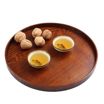 27CM Tea Food Oriental Plate Dish Platter Natural Wood Serving Tray Eco-friendly Diameter Primitive Hand-Made Snack Plates