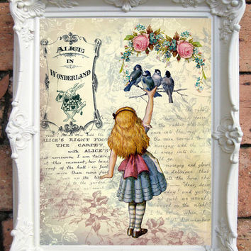 ALICE in Wonderland Quote Art Print Alice in Wonderland Decoration Shabby Chic Decor Alice in Wonderland Print Mad Hatter Tea Party  C:A033