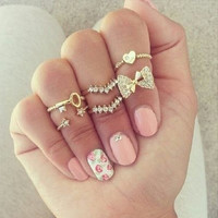 6pcs/set Fashion Finger Rings Set Heart Bowknot Mid Knuckle New Gold Silver Rhinestone Ring For Female Women fine Jewelry 8243