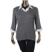 NY Collection Womens Plus Cable Knit V-Neck Pullover Sweater