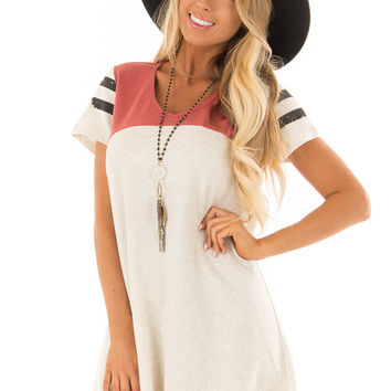 Oatmeal and Dark Coral Short Sleeve Dress