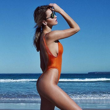 90's inspired HIGH cut swimwear ∆ NEW ∆ Metallic copper swimsuit ∆ 90s One-piece Swimwear  ∆ Hi-cut One Piece