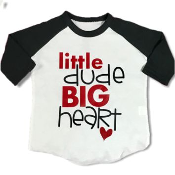 Little Dude Big Heart Raglan T-Shirt