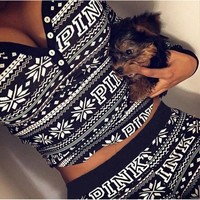 Autumn Winter Fashion 2 Piece Set Tracksuit For Women Pant And Sweatsuits Snowflake Printed Gray Tracksuit