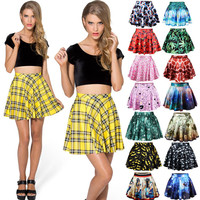 Stretch Waist Pleated Mini Skirt