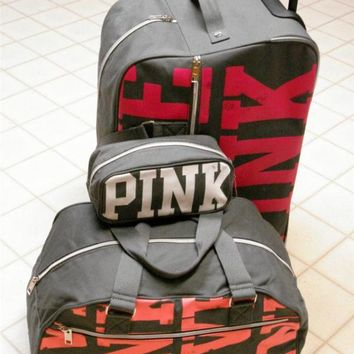 3pc NWT VICTORIAS SECRET LOVE PINK ROLLING DUFFLE LUGGAGE COSMETIC BAG CARRY ON