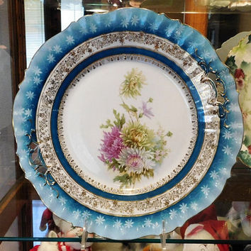 """RS Prussia Charger Cake Plate 11""""  Large Antique Victorian Porcelain 1900s Germany German Chrysanthemums Mums Flowers Floral Home Decor"""