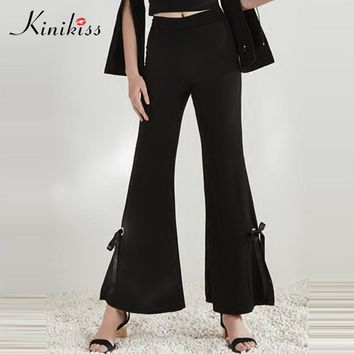 Women Spring Black Loose Pants Mid Female Fashion Solid Wide Leg Pants Elegant Casual Pants