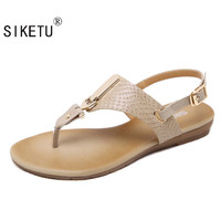 SIKETU Summer Women Sandals European Female Metal Buckle Shoes Sandals Women's Flat Sandals Shoes Women Shoes Bohemia Flat Shoes