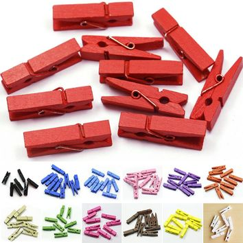 20pcs Mini Colored Spring Wood Clips Clothes Photo Paper Peg Pin Clothespin Craft Clips Party Decoration