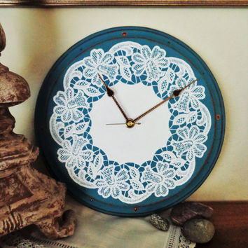 Wall clock Lace painting Rustic decor Point-to-point Lace wall clock Art wall clock Shabbi chic clock