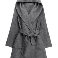 Long Sleeves Pocket Design Hooded Trench Coat with Sash