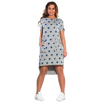 Star Printed Summer Women Dresses Plus Size Women Clothing Short Sleeve Knee-Length Dress Casual O-neck Loose Dress LM58