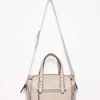 Side-Zip Faux Leather Satchel