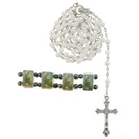 White Bead Rosary in 8mm Round Beads and St. Jude Bracelet - 28'' Necklace Length, 19.5'' Overall - Sold as a Set