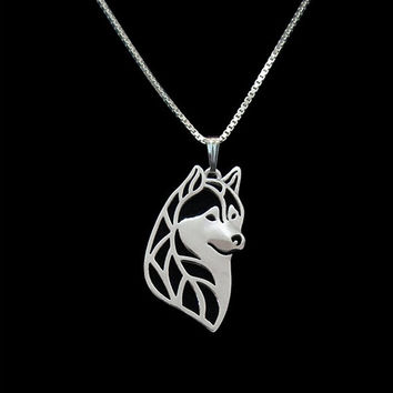 Gold & silver 1pcs Siberian Husky Head Necklace 3D Cut Pendant Memorial Necklaces 1pcs