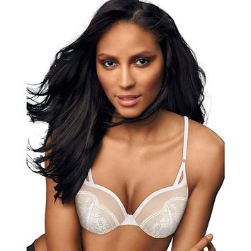 Maidenform Love the Lift  Push Up & In Demi Bra Style: DM9900-White w/Paris Nude Lace 34B