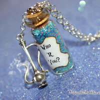 Alice in Wonderland, The Caterpillar, Who R You, with a Hookah Charm, Disney Inspired, by Life is the Bubbles