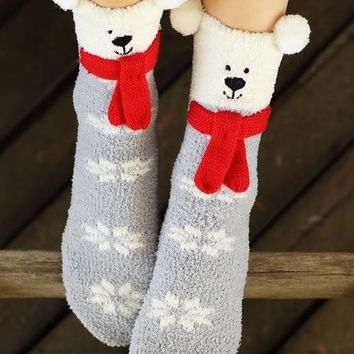 Winter Bear Sleep Socks