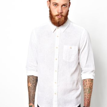 ASOS Shirt In Long Sleeve With Linen Mix