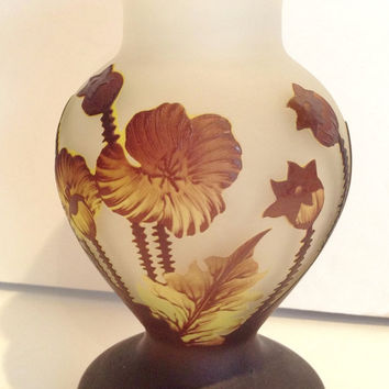 Beautiful Large Vintage French Cameo Art Glass Vase Signed