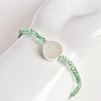Sparkling, Green Amethyst Gemstone Rondelles, Stacking Bracelet with Sterling Silver Disc Bead and Silk Thread, Layering Bracelet
