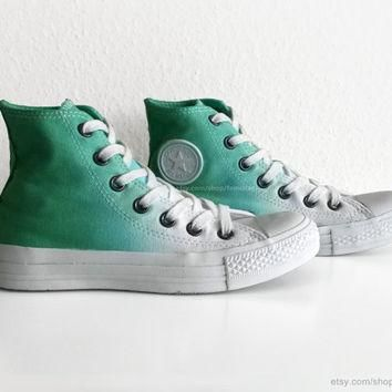 Fresh green ombre Converse, dip dye upcycled vintage sneakers, All Stars, Chucks, high