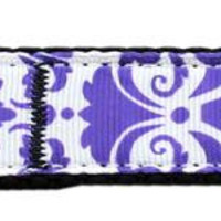 Damask Nylon Dog Leash 6 Foot Purple