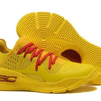 Jacklish Under Armour Curry 4 Low Yellow Red For Sale