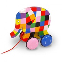 Vilac, Elmer the Elephant wooden pull along  FrenchToy