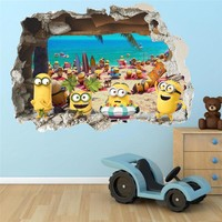 3D Wall Sticker Cute Cartoon Minion Docorative Wall Sticker Baby Kid Bedroom Living Room Decoraton PVC Decal Art Mural Poster