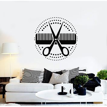 Vinyl Wall Decal Circle Comb Scissors Hair Tools Beauty Salon Stickers Mural (g1328)
