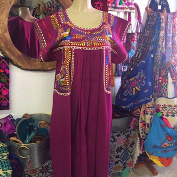 Mexican Fino Embroidered Maxi Dress Magenta