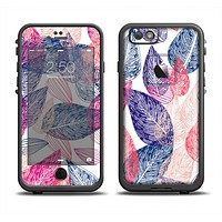 The Seamless Pink & Blue Color Leaves Apple iPhone 6 LifeProof Fre Case Skin Set