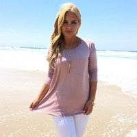 Simply Loving You Pocket Tee In Mauve