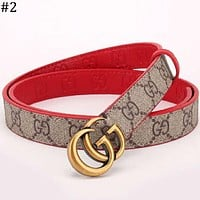 GUCCI classic double G buckle smooth buckle men and women models wild trend pants belt #2