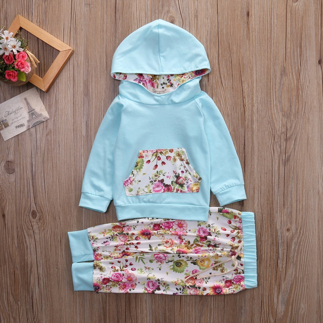 UK Kids Baby Girl Infant Clothes Floral Hooded Tops Long Pants Outfits Tracksuit