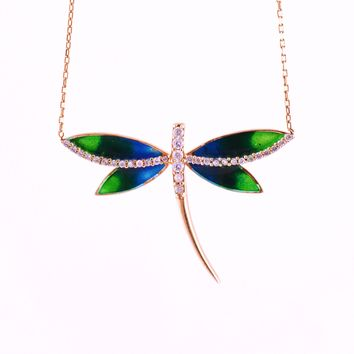 925 Sterling Silver Rose Gold Plated Dragonfly Necklace