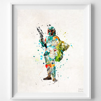 Star Wars Print, Boba Fett, Watercolor Art, Bedroom Decor, Online Art Prints, Artwork At Home, Artwork For The Home, Halloween Decor
