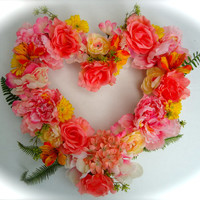 """Cemetery Floral Heart Shaped Memorial Remembrance Wreath - """"Always"""", Cemetery Flowers, Summer floral, Yellow, Pink  and Peach floral wreath"""