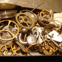 Steampunk Supplies -Watch Wheels,Gears, Watch Faces and MORE-Assemlage, Scrapbooking  - Antique Watch Parts for Jewelry, Altered Art (515)