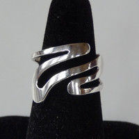 Stamped 925 Sterling Silver Wavy Cocktail Ring